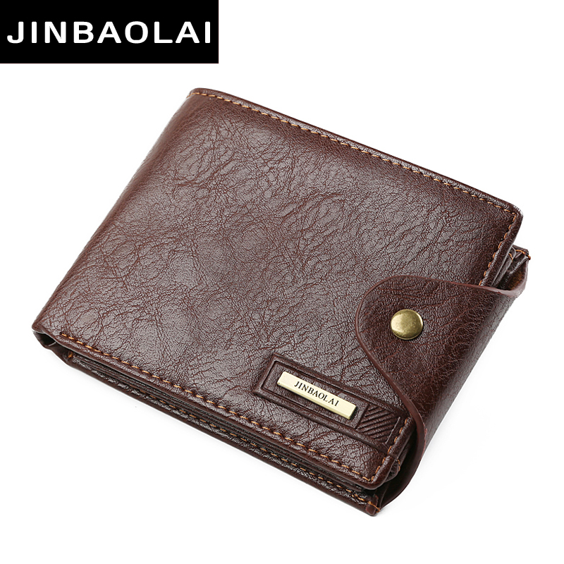 JINBAOLAI New Designer Hight Quality PU Leather Wallet Men ID Card Holder Button Coin Purses Pockets card holders Wallet for Men never leather badge holder business card holder neck lanyards for id cards waterproof antimagnetic card sets school supplies