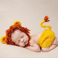 Cute Lion Set Costumes Newborn Cosplay Photography Props Knitted Baby Outfit Hats With Pants Newborn Lion Hat And Diaper Cover