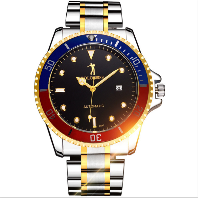 The new Korean version of the men's watch fully automatic mechanical male skin belt waterproof student fashion movement 2018. ultra thin watch male student korean version of the simple fashion trend fashion watch waterproof leather watch men s watch quar