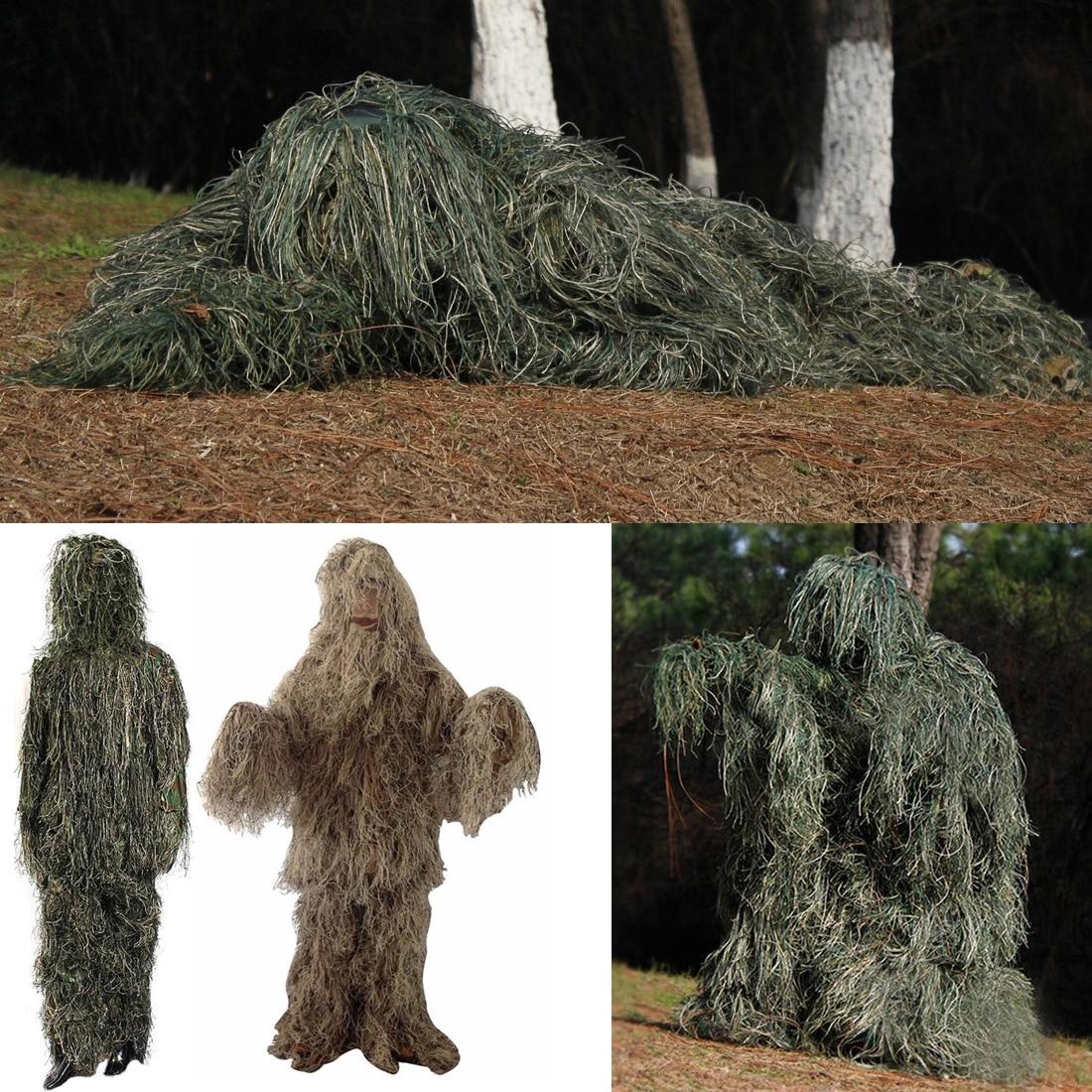 Unisexe Réglable Taille Camouflage Costumes Woodland Vêtements Ghillie Costume Pour La Chasse Armée Militaire Tactique Sniper Set Kits