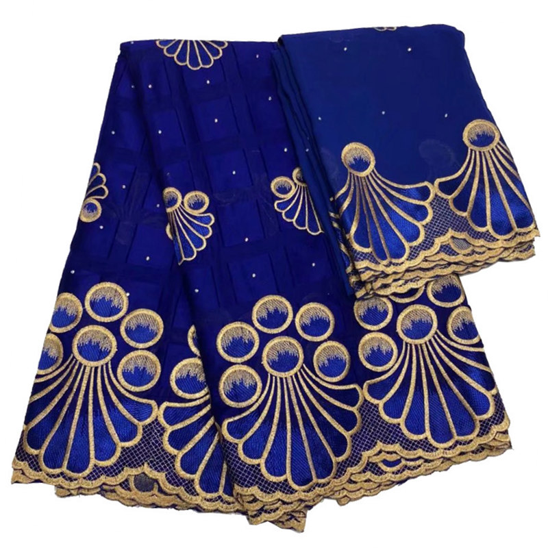 FolaSade African Swiss voile lace fabric high quality royal blue and gold traditional cotton lace fabric