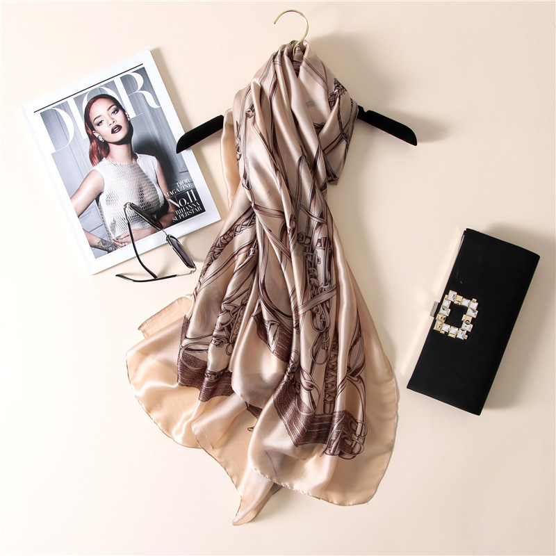 Women Silk Shawl Print Foulard Chain Classics Scarf Large Soft Female Wrap NEW [3216]