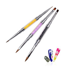 hot deal buy 3 style 2 in 1 acrylic nail art brush uv gel crystal rhinestone polish flat painting drawing pen manicure brush nail art tools