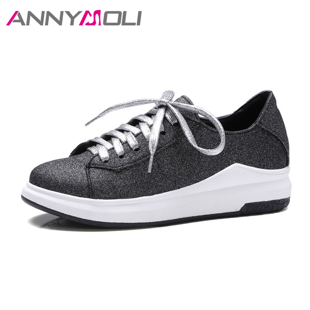 ANNYMOLI Women Flat Platform Lace Up Sneakers Creepers Casual School Shoes Spring Flats Female Footwear White Black Size 9 42