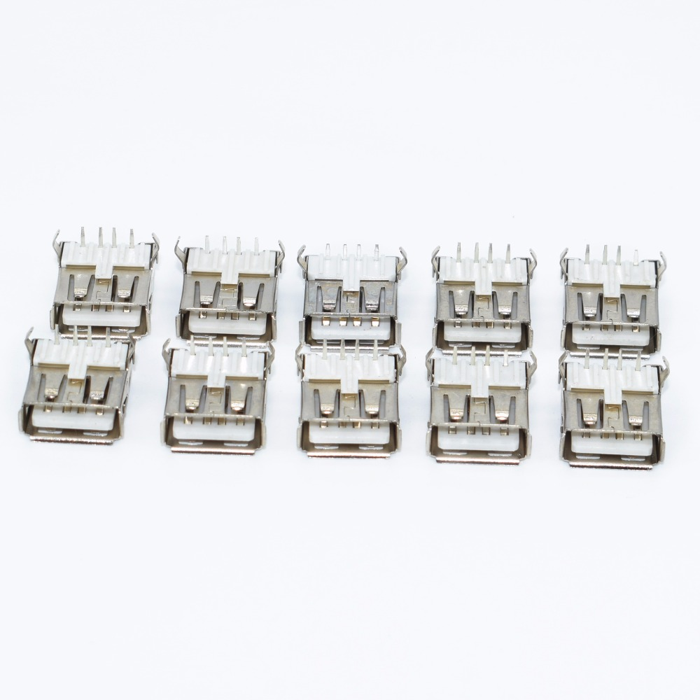 10Pcs USB Type A Standard Port Female Solder Jacks Connector PCB Socket USB-A Type