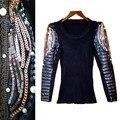 Otoño invierno con cuentas de perlas lentejuelas embroidey suéter edredón de algodón de cuero de LA PU de manga larga mujeres suéteres suéteres NS50