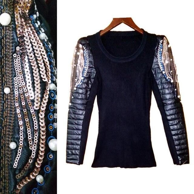 Осень Зима жемчуг бисером и блестками embroidey свитер стеганые хлопок Искусственная Кожа Длинные рукава женские пуловеры, Свитера NS50