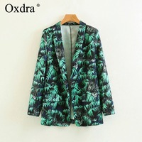 Oxdra 여성 2018 봄 새로운 녹색 레오파드 패턴 노치 재킷 긴 소매 블레이저 여성 재킷 캐주얼 아우