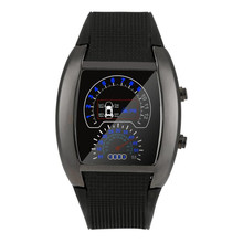 Mode Aviation Turbo cadran flash LED watch cadeau hommes dame sport voiture compteur Bracelet analogique Quartz montre-Bracelet relogio feminin 40(China)