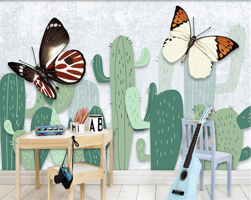 Beibehang Custom Wallpapers American Pastoral Plants Cactus TV Backdrop Living Room Bedroom Sofa 3d wallpaper papel de parede custom baby wallpaper snow white and the seven dwarfs bedroom for the children s room mural backdrop stereoscopic 3d