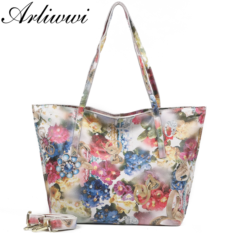 Arliwwi Brand Designer Shiny Flower Casual 100% Real Leather Women Large Shoulder Bags New Floral Genuine Leather Handbags
