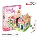 Cubicfun 3D Puzzle DIY Paper Building Toys, Puzzle 3D Handmade P615 Dollhouse Garden Villa Puzzle Birthday Gift Toy For Children