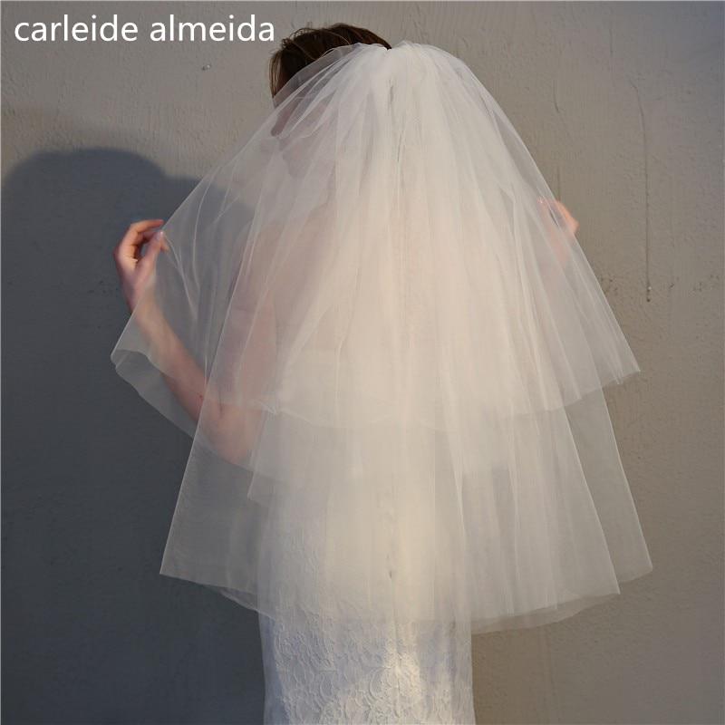 90CM*4M Length Short Wedding Veil with Comb Two Layers Veu de noiva Cheap Voile de mariee Bridal Veils     - title=