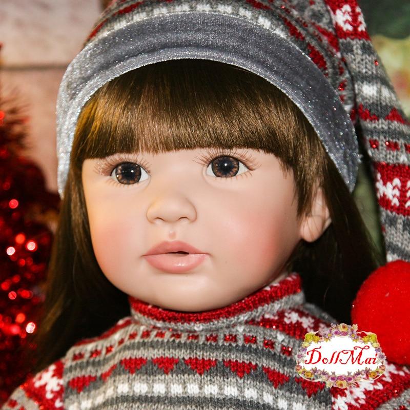 DollMai doll reborn 2460cm handmade silicone reborn baby dolls child xmas gift toy dolls Bebes reborn bonecas brinquedo menina