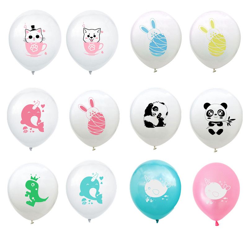 10pcs 12inch Cute Teacup Cat Dog Panda Latex Balloons Dinosaur Cartoon Balloons Baby Shower Kids Birthday Wedding Party Decor Home & Garden