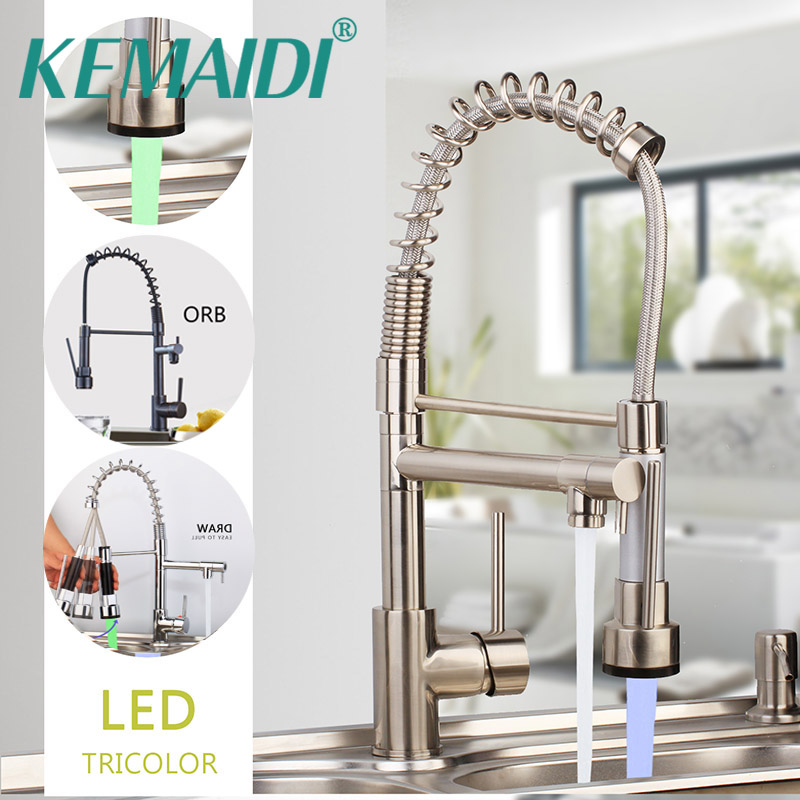 KEMAIDI Spring Kitchen Faucet Pull out Side Sprayer Dual Spout Single Handle Mixer Tap Sink Faucet 360 Rotation Kitchen Faucets hpb multi function pull out lifting bathroom faucet brass bathroom sink mixer dual pattern spout 360 rotation design hp3048