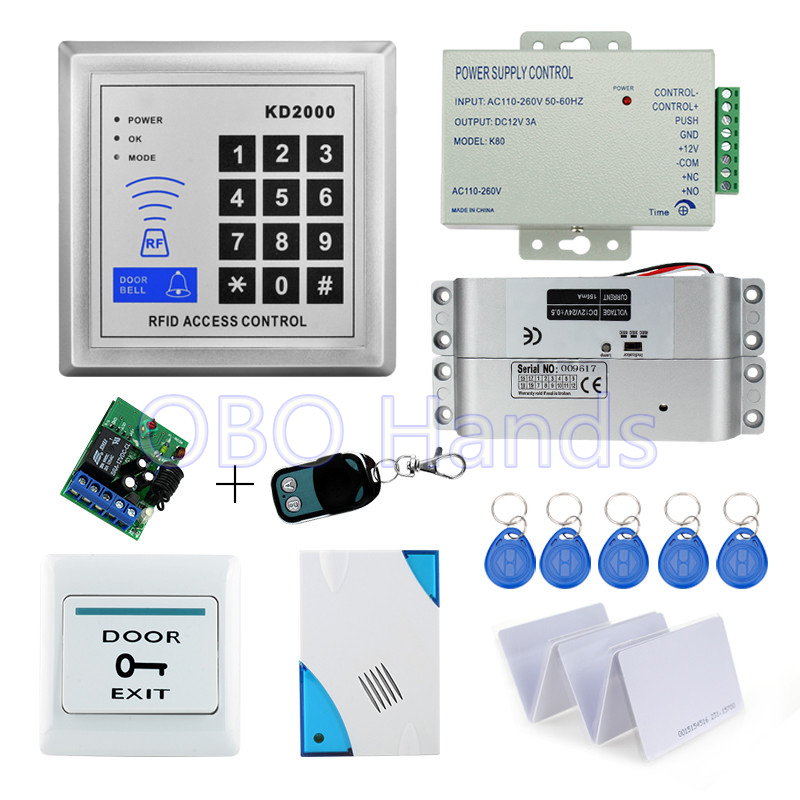 Free shipping full set door access control system kit KD2000+electric drop bolt lock+power supply+exit button+remote control