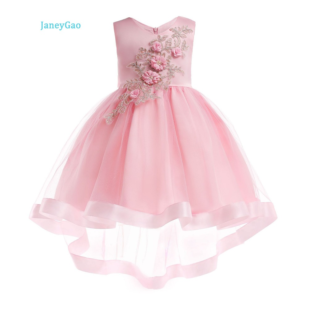 17f1de5c085 JaneyGao Flower Girl Dresses Sleeveless Fashion Low High Style 2019 New  Arrival Pink Wine Red Little Girl Birthday Party Gown