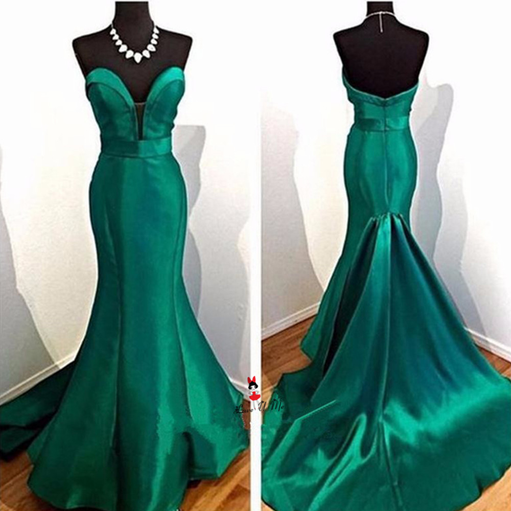 Simple Cheap Green Evening Dresses Long 2018 Satin Mermaid Sexy Women Prom Dress to Party Girls