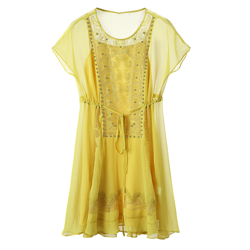 OFTBUY Short Sleeves Female Chiffon Dress 2017 Casual Summer Women O Neck Bead Mesh Lace Embroidery White Loose Dresses In From Womens