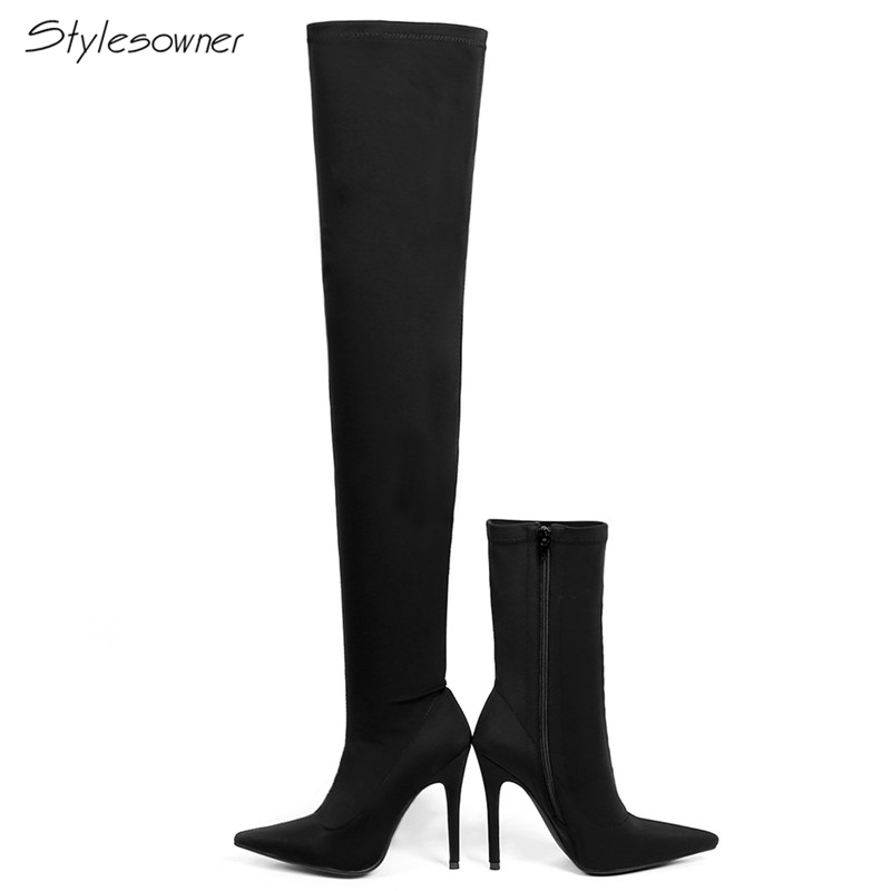 Stylesowner Elastic Stretch High Heel Boots Thigh Over The Knee Boots Pointed Toe Slim Short and Long Sock Boots Stiletto Botas