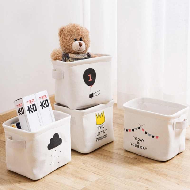 4 Pçs/set alta qualidade de desktop caixa de armazenamento de Dobramento Da Lona organizador Recipiente de armazenamento de Artigos Diversos Cesta de Armazenamento De Underwear Cosméticos caso