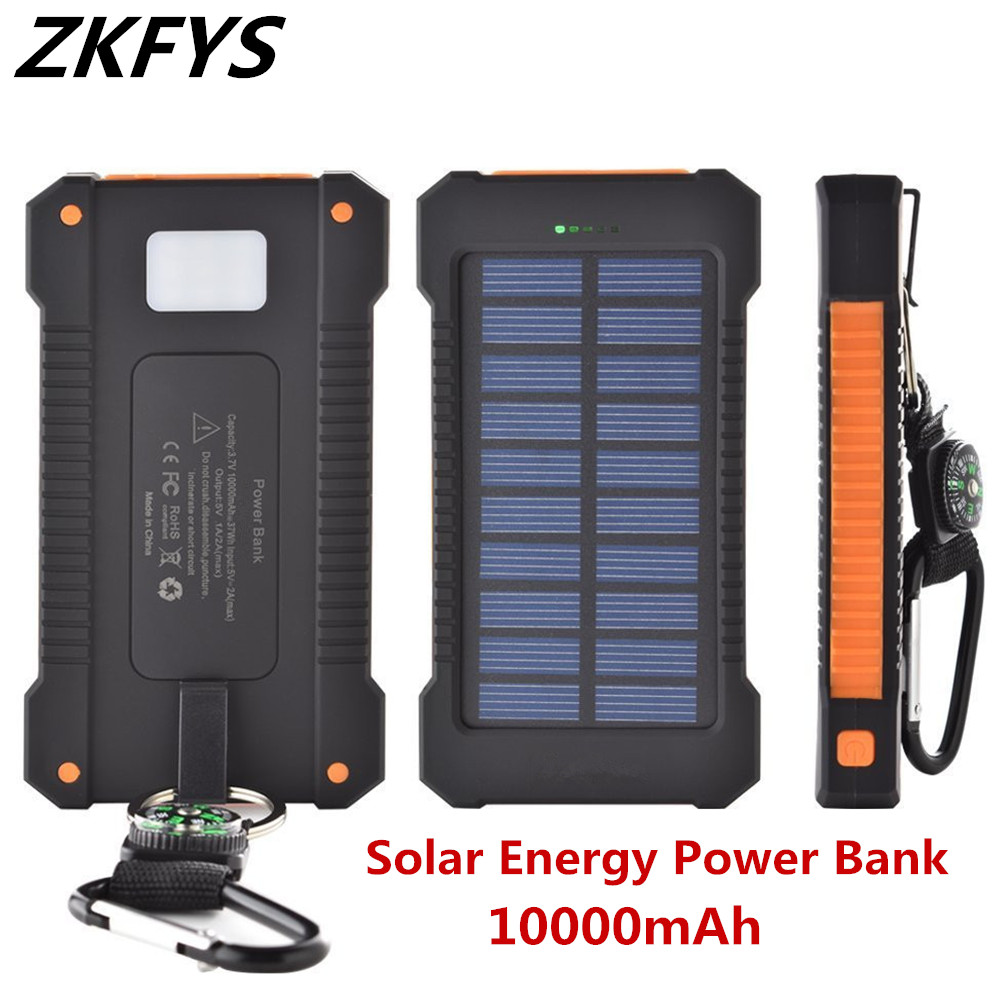 ZKFYS External Powerbank Charger With Compass LED Light 10000mAh Solar Battery Dual USB Power Bank Waterproof