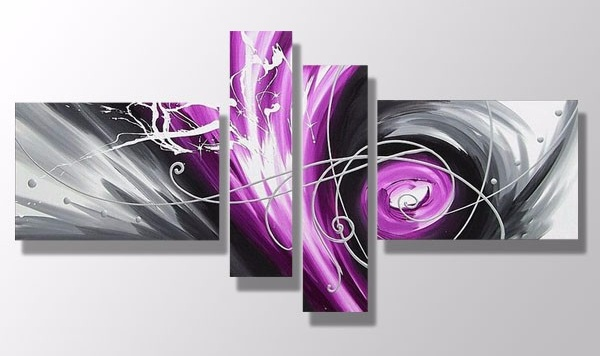 4 Panels Modern Abstract Oil Painting Purple And Grey Wall Art