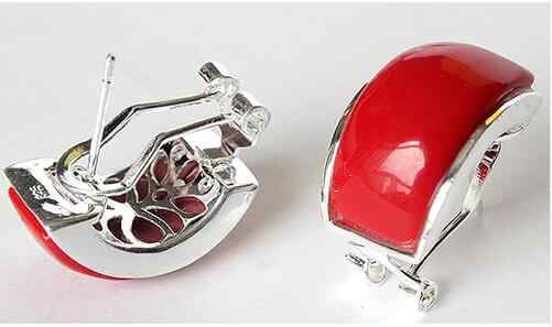 Hot sell Noble- hot sell new - BEAUTIFUL NEW 925 SILVER RED CORAL EARRINGS 13X20MM