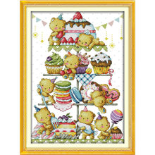 Lovely Bear Family DIY Set DMC Cross Stitch Fabric Chinese Counted Cross Stitch Patterns Kits 11CT Printed On Canvas Home Decor(China)