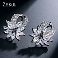 ZAKOL Top Quality Silver Plated Ear Jewelry Trendy Cubic Zircon Flower Shape Girl Women Stud Earrings For Anniversary FSEP168