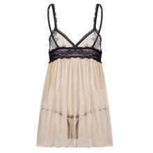 Women's Champagne and Lace BabydollLingerie and Panties Set