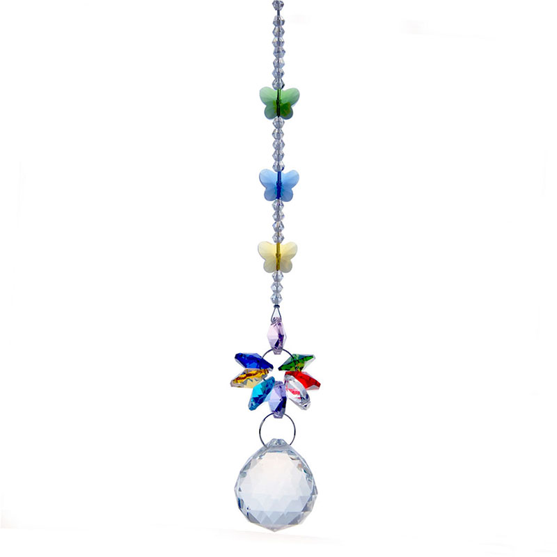 Rainbow Crystal Suncatcher Clear Faceted Ball Pendant For Chandelier Part K9 Crystal Prisms Beauty Ornament 7.5inches