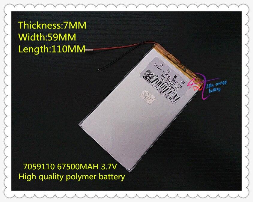 3.7V 6750mAH 7059110  Polymer lithium ion / Li-ion battery for POWER BANK tablet pc dvr GPS cell phone MP4 SPEAKER