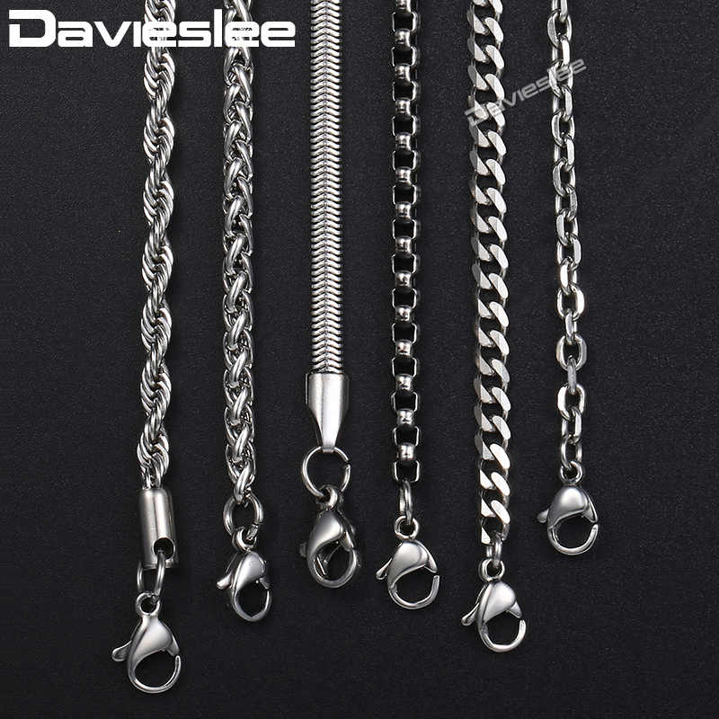 Davieslee Chain Necklaces For Men Stainless Steel Silver Rolo Wheat Box Snake Chains Mens Necklace Classic 3mm 18-26inch LKNN1