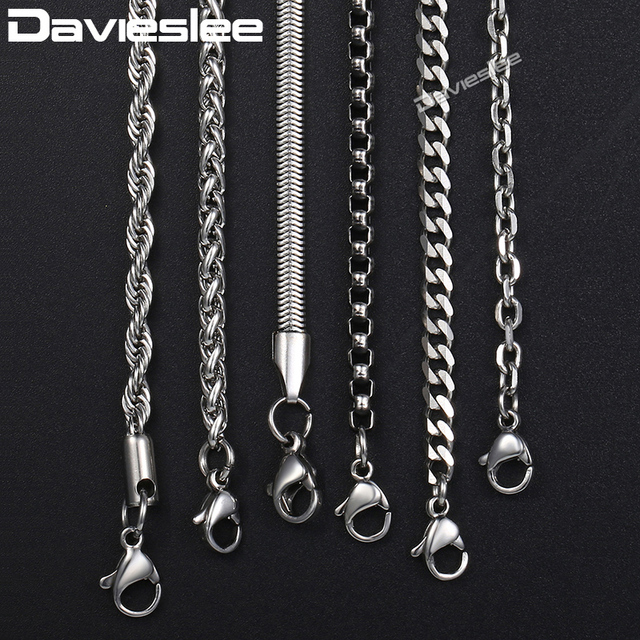 Davieslee Chain Necklaces For Men Stainless Steel Silver Rolo Wheat Box Snake Ch