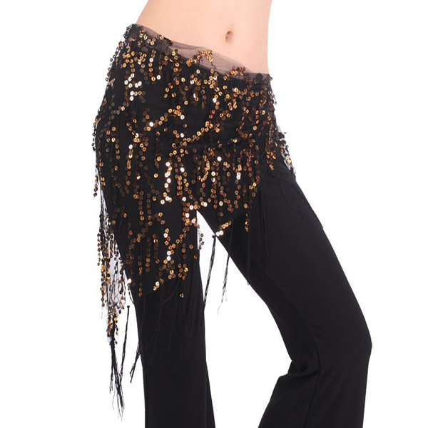 New Tassels Belly Dance Costume Hip Scarfs Tribal Triangle Tassel Belt Gold Sequins Dancing