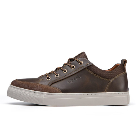 SERENE Brand Cow Leather Men Shoes High Quality Casual Lace-up Shoes Breathable Footwear Man Suede Shoes Retro Leisure Sneakers Lahore
