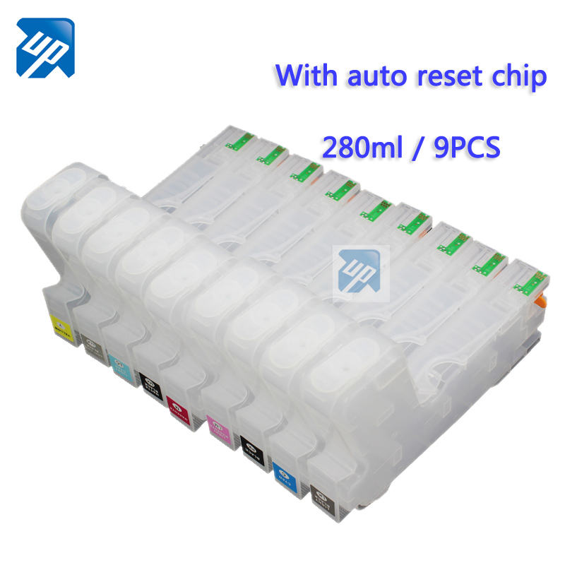 9pcs Refillable Ink Cartridges with permanent Chip Fo Epson surecolor p800 SC P800 printer T8501 280ML