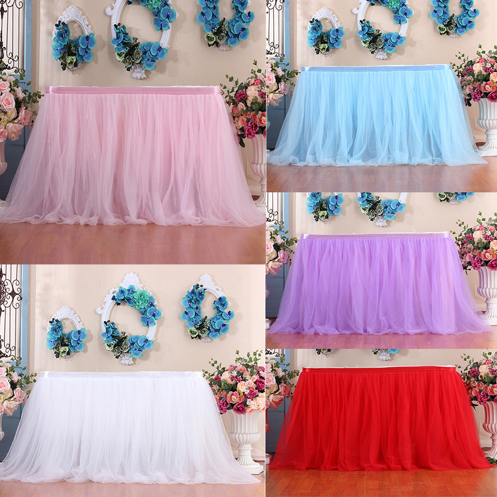 2019 New Table Skirt Cover 39Inch Birthday Wedding Festive Party Decor Table Cloth 1PCS Wedding Festive Table SkirtDrop Shipping