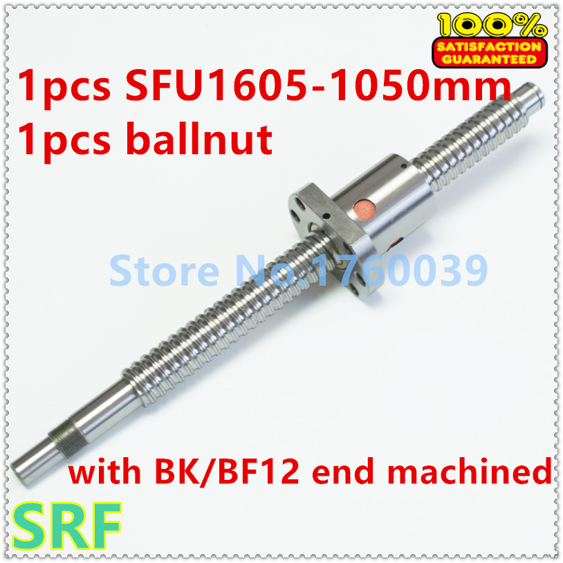 Zero Backlash SFU1605 Ballscrew set:1pcs 16mm Rolled Ball screw SFU1605 L=1050mm with single Ballnut for CNC Part sfu1605 ball screw l650mm ballscrew with sfu1605 single ballnut for cnc