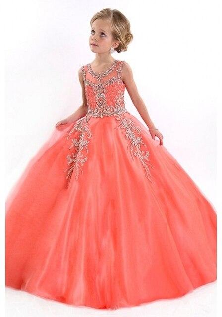 2015 filles Pageant robes pour les petites filles princesse Tulle cristal  Coral Flower Girls robes pour