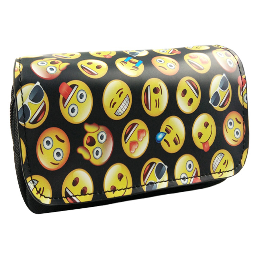 New cute 3D cute emoji canvas canvas double zipper pencil case school office high-capacity stationery bag big capacity high quality canvas shark double layers pen pencil holder makeup case bag for school student with combination coded lock