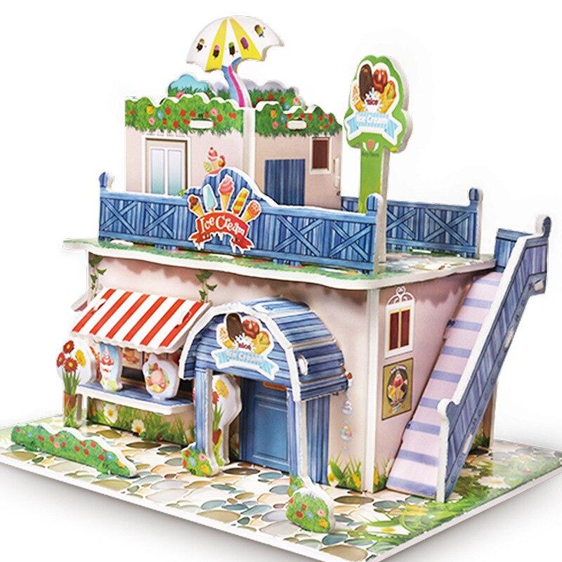 Children DIY 3D Assembled House Toy Manual House Simulation  Villa Puzzle Castle Building Fun Puzzle Foam Board For Kids Gift 5
