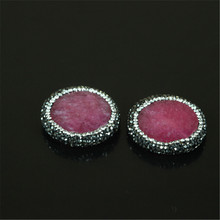 charms handmade material natural druzy agate pave rhinestone pendant drusy jade stone pendant connector for fine jewelry making