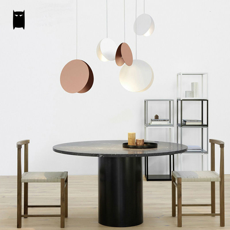 Yellow White Coffee Flying Disk Pendant Light Fixture Modern Art Deco Nordic Hanging Lamp Luminaria Design Dining Table Room Bar - 2