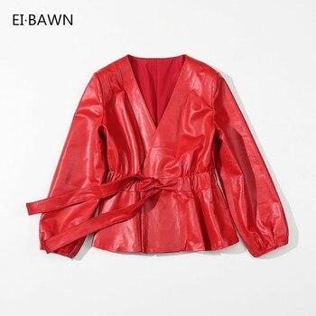 Leather Jacket Women Sheepskin Coat Autumn 2020 Red Black Vintage Jacket Women Plus Size Female Jacket Genuine Leather Jacket