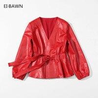 Leather Jacket Women Sheepskin Coat Autumn 2019 Red Black Vintage Jacket Women Plus Size Female Jacket Genuine Leather Jacket
