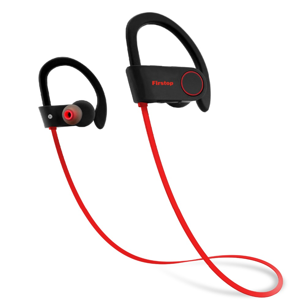Firstop Bluetooth Headphones IPX7 Waterproof Wireless Earphone CSR8635 Stereo Bass Headset HiFi Sport Earbuds with Mic for Phone plextone x46m in ear earphone removable metal 3 5mm stereo bass earbuds gaming headset with mic for computer phone iphone sport