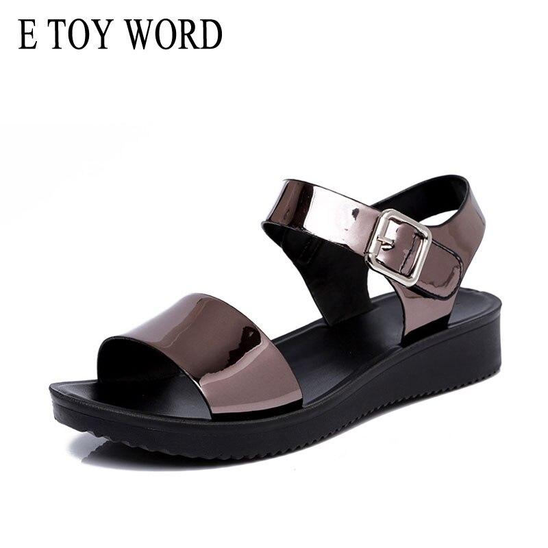 E TOY WORD Sandals Women summer new open toe Beach shoes Punk sandals female soft flat Anlke straps fashion Roman shoes